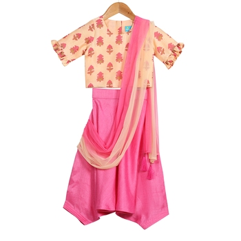 Peach & Pink Harem Pants with Top & Ombre Dupatta