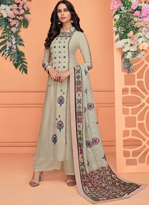 off white embroidered viscose stitched salwar with dupatta