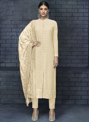 off white embroidered georgette stitched salwar with dupatta