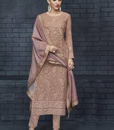 beige embroidered georgette stitched kameez  with dupatta