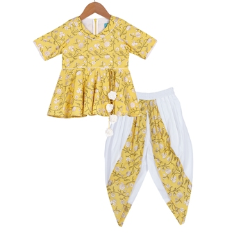 Yellow & White Quirky Peplum Top with Cowl Dhoti Pants