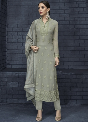 grey embroidered georgette stitched salwar with dupatta