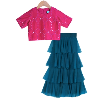 Teal & Magenta Tiered Frill Pants with Embroidered Crop Top