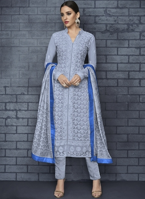 blue embroidered georgette stitched salwar with dupatta