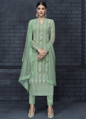 green embroidered georgette stitched salwar with dupatta