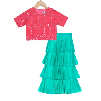 Turquoise & Red Tiered Frill Pants with Embroidered Crop Top