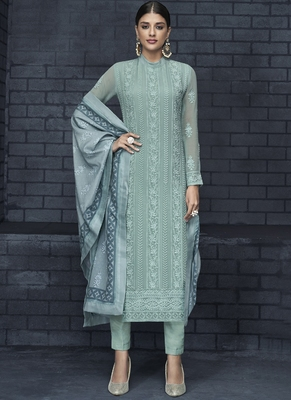 turquoise embroidered georgette stitched salwar with dupatta