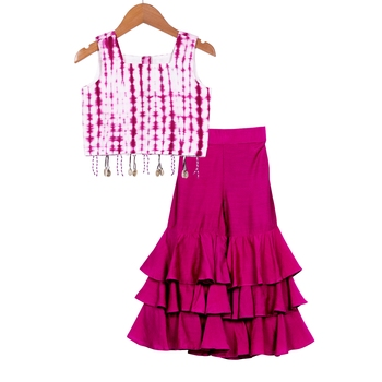 Purple Tie Dye Crop Top with Sharara