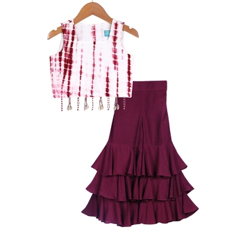 Maroon Tie Dye Crop Top with Sharara