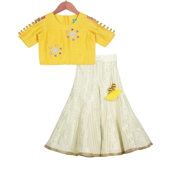 Yellow & Champagne Classic Palazzo with Crop Top