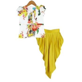 White & Yellow Floral Tucks Kurti and Dhoti Pants