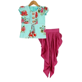 Seagreen & Red Floral Tucks Kurti and Dhoti Pants