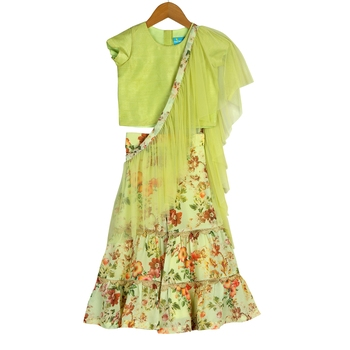 Green Printed Sharara with Attached Dupatta & Crop Top