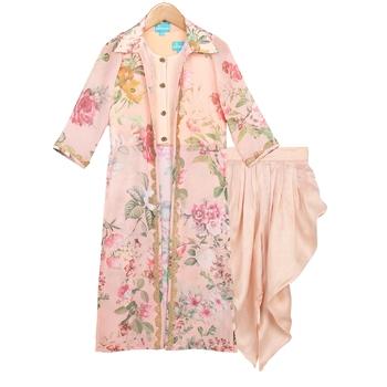 Peach Printed Floral Jacket with Dhoti Pants & Crop Top