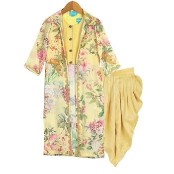 Yellow Printed Floral Jacket with Dhoti Pants & Crop Top