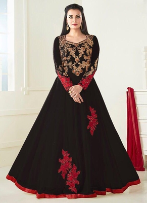 Black Embroidered Silk Blend Semi Stitched Salwar With Dupatta