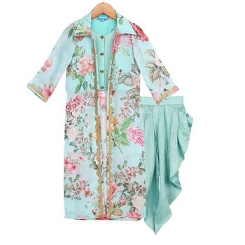 Blue Printed Floral Jacket with Dhoti Pants & Crop Top