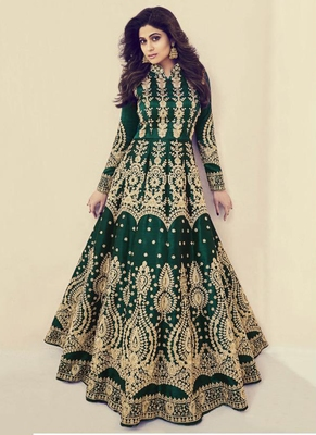 Green Embroidered Silk Blend Semi Stitched Salwar With Dupatta
