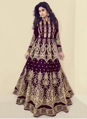 Wine Embroidered Silk Blend Semi Stitched Salwar With Dupatta