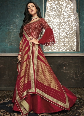 red embroidered silk blend semi stitched salwar with dupatta