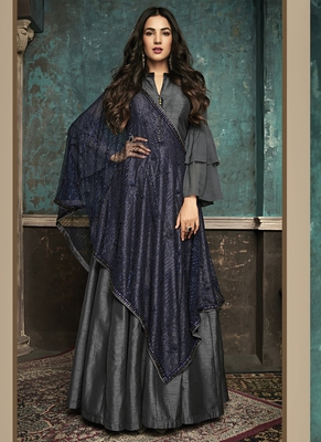 grey embroidered silk blend semi stitched salwar with dupatta