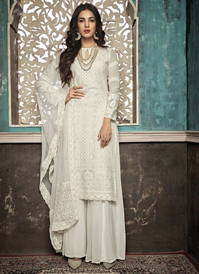 White Embroidered Georgette Semi Stitched Salwar With Dupatta