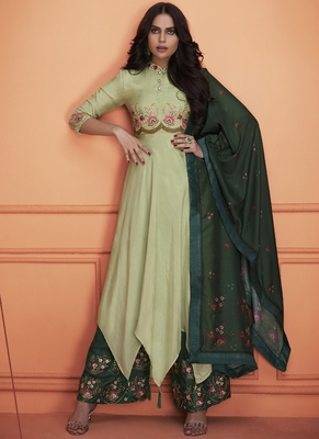 green embroidered silk blend stitched salwar with dupatta