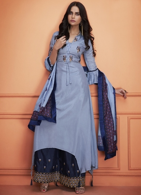 blue embroidered silk blend stitched salwar with dupatta