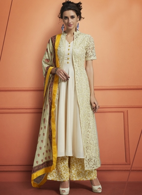 Off White Embroidered Net Stitched Salwar With Dupatta