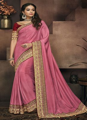 Rose embroidered satin saree with blouse