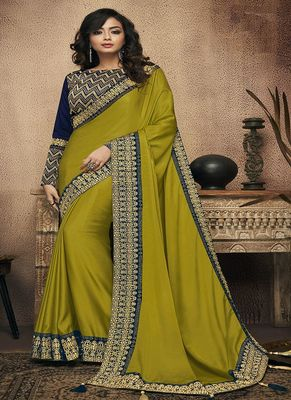 Olive embroidered satin saree with blouse