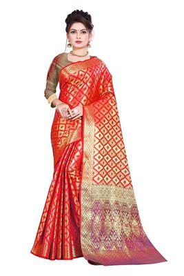red woven kanchipuram silk saree with blouse