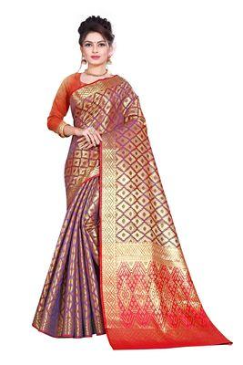 wine woven kanchipuram silk saree with blouse
