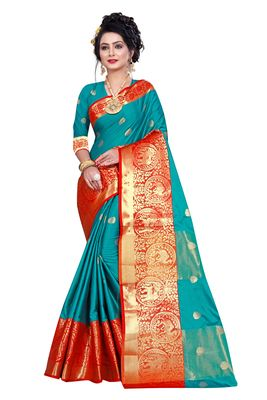 sea green woven silk blend saree with blouse