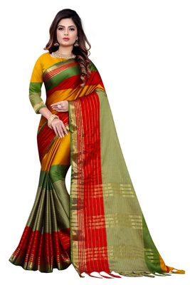 Mustard woven cotton silk saree with blouse