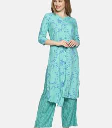 Sea-green printed rayon ethnic-kurtis