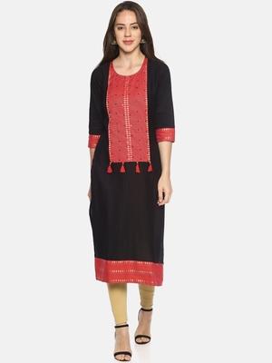 Black plain cotton ethnic-kurtis