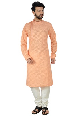 Peach stylish embroidery kurta set
