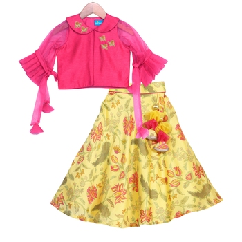 Yellow & pink Printed Chanderi Lehenga with Peter Pan Collar Crop Top
