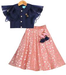 Pink & Blue Banarasi Chanderi Silk Lehenga with Peter Pan Collar Crop Top