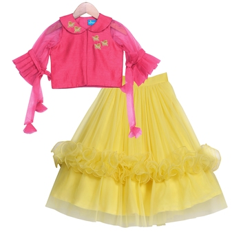 Yellow & pink Chanderi Ruffle Skirt with Peter Pan Collar Crop Top