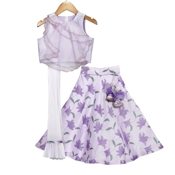 Mauve Printed Lehenga with Sheer Organza Layered Crop Top