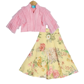 Yellow & Pink Floral Lehenga with Ruffle Sleeves Top