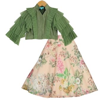 Peach & Green Floral Lehenga with Ruffle Sleeves Top