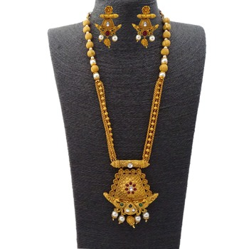 Kemp Traditional Peacock Style Ruby Green Matte Gold Metal Alloy Necklace Jewellery Set with Matching Earrings