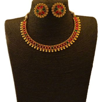 Small U Shape Gold Color Necklace with Oval Ruby Green Stones with Matching Earring Set