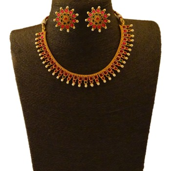 Small U Shape Gold Color Necklace with Square Ruby Green Stones with Matching Earring Set