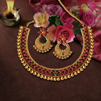 Small U Shape Gold Color Necklace with Pear Shape Ruby Green Stones with Matching Earring Set