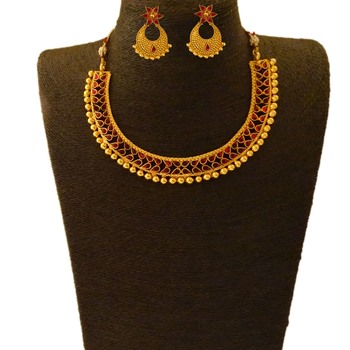 Small U Shape Gold Color Necklace with Pear Shape Stones with Matching Earring Set