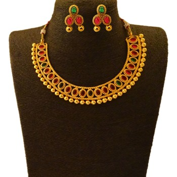 Small U Shape Gold Color Necklace with Oval Shape Ruby Green Stones with Matching Earring Set